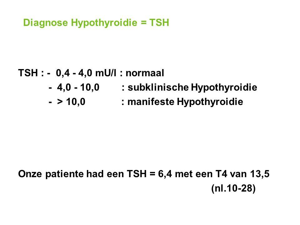 Diagnose Hypothyroidie = TSH TSH : - 0,4 - 4,0 mU/l : normaal - 4,0 - 10,0 : subklinische Hypothyroidie - > 10,0 : manifeste Hypothyroidie Onze patiente had een TSH = 6,4 met een T4 van 13,5 (nl.10-28)