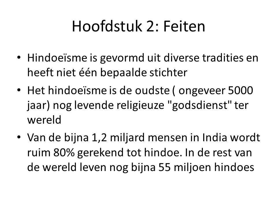 Hoofdstuk 2: Feiten Hindoeïsme is gevormd uit diverse tradities en heeft niet één bepaalde stichter Het hindoeïsme is de oudste ( ongeveer 5000 jaar) nog levende religieuze godsdienst ter wereld Van de bijna 1,2 miljard mensen in India wordt ruim 80% gerekend tot hindoe.