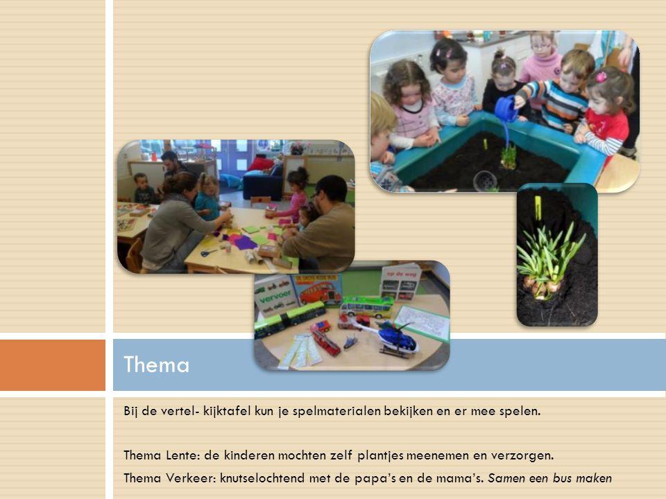 Bij de vertel- kijktafel kun je spelmaterialen bekijken en er mee spelen. Thema Lente: de kinderen mochten zelf plantjes meenemen en verzorgen. Thema