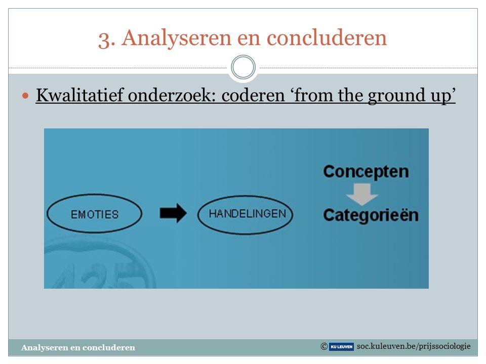 3. Analyseren en concluderen Kwalitatief onderzoek: coderen 'from the ground up' Analyseren en concluderen © soc.kuleuven.be/prijssociologie