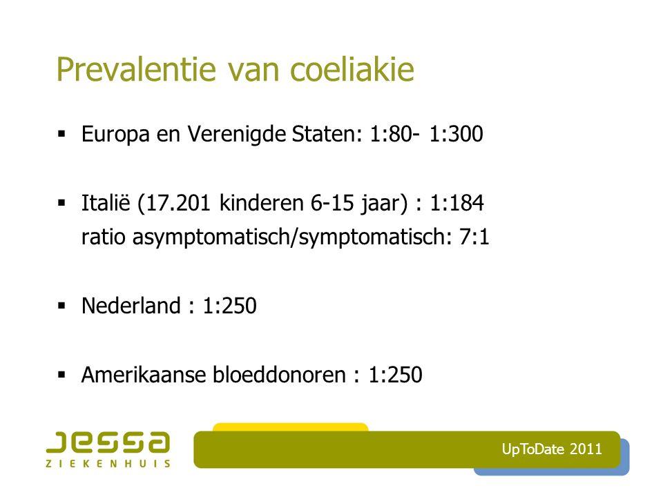 Prevalentie van coeliakie  Europa en Verenigde Staten: 1:80- 1:300  Italië (17.201 kinderen 6-15 jaar) : 1:184 ratio asymptomatisch/symptomatisch: 7:1  Nederland : 1:250  Amerikaanse bloeddonoren : 1:250 UpToDate 2011