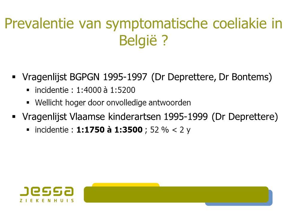 Prevalentie van symptomatische coeliakie in België ?  Vragenlijst BGPGN 1995-1997 (Dr Deprettere, Dr Bontems)  incidentie : 1:4000 à 1:5200  Wellic