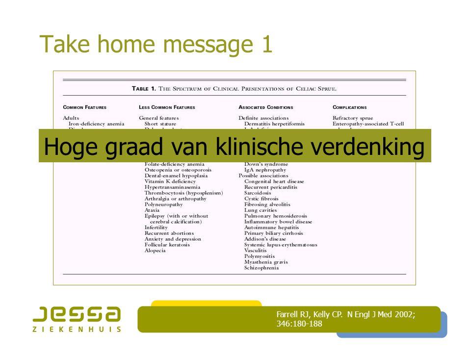 Take home message 1 Farrell RJ, Kelly CP. N Engl J Med 2002; 346:180-188 Hoge graad van klinische verdenking