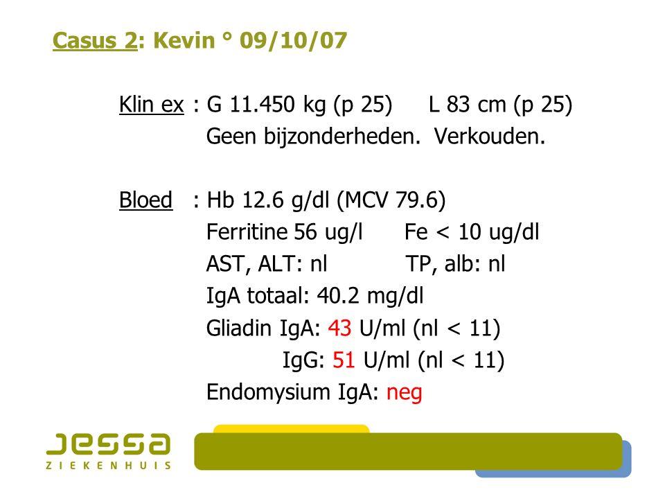 Casus 2: Kevin ° 09/10/07 Klin ex : G 11.450 kg (p 25) L 83 cm (p 25) Geen bijzonderheden. Verkouden. Bloed : Hb 12.6 g/dl (MCV 79.6) Ferritine 56 ug/