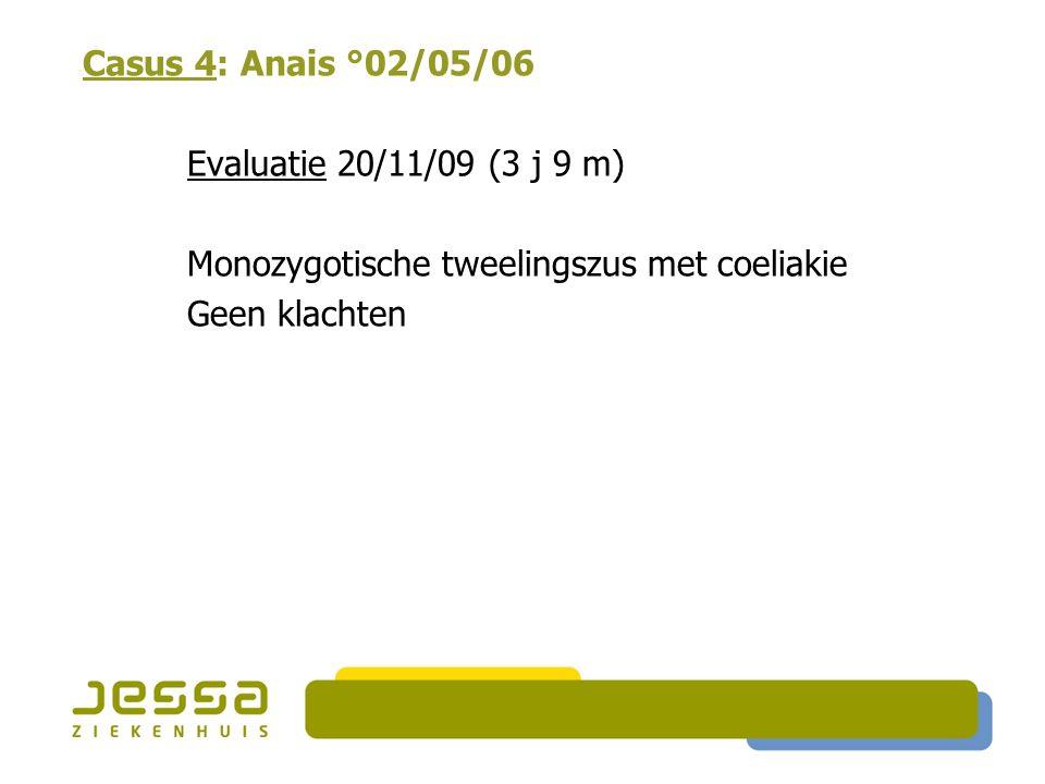 Casus 4: Anais °02/05/06 Evaluatie 20/11/09 (3 j 9 m) Monozygotische tweelingszus met coeliakie Geen klachten