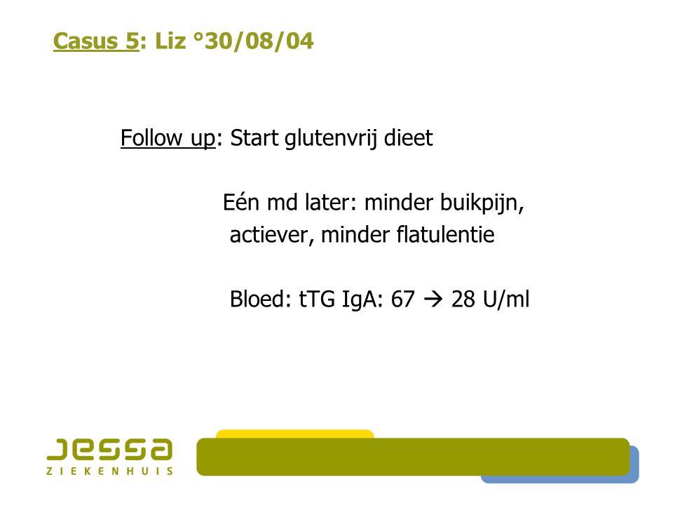 Casus 5: Liz °30/08/04 Follow up: Start glutenvrij dieet Eén md later: minder buikpijn, actiever, minder flatulentie Bloed: tTG IgA: 67  28 U/ml