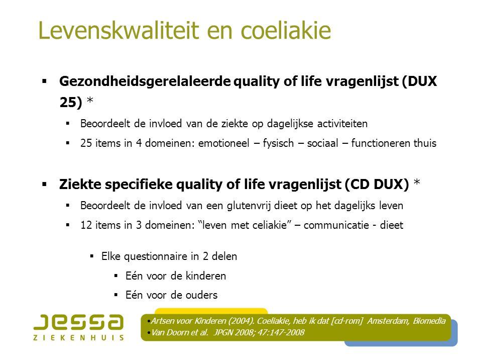 Levenskwaliteit en coeliakie  Gezondheidsgerelaleerde quality of life vragenlijst (DUX 25) *  Beoordeelt de invloed van de ziekte op dagelijkse acti