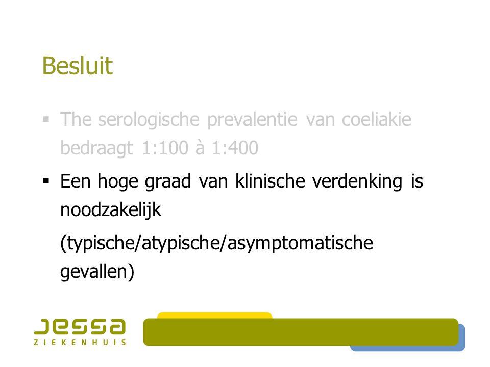 Besluit  The serologische prevalentie van coeliakie bedraagt 1:100 à 1:400  Een hoge graad van klinische verdenking is noodzakelijk (typische/atypische/asymptomatische gevallen)