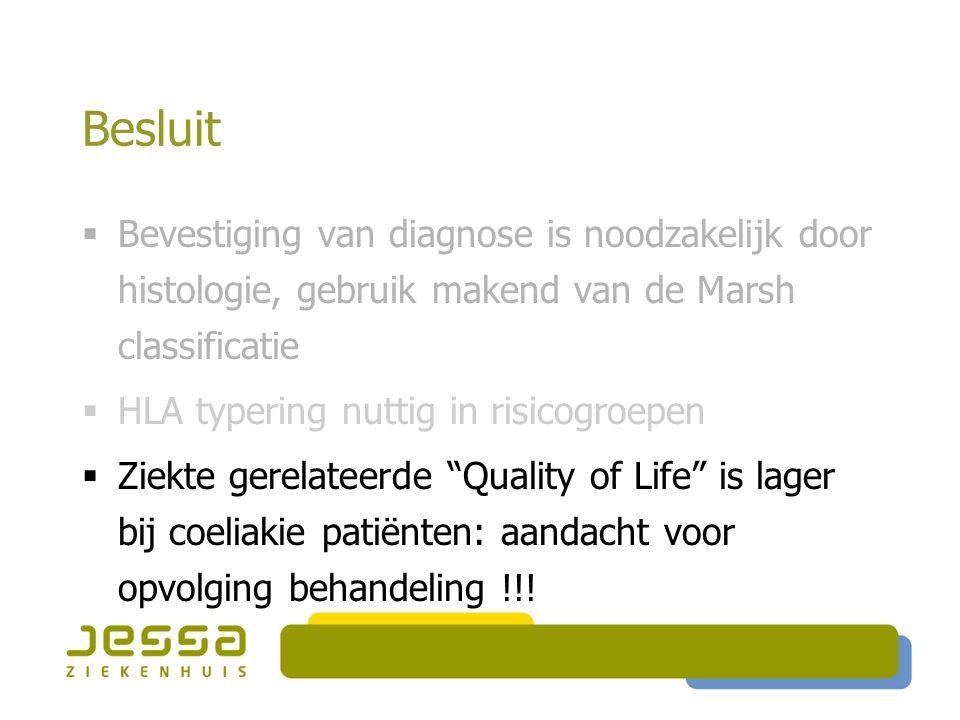Besluit  Bevestiging van diagnose is noodzakelijk door histologie, gebruik makend van de Marsh classificatie  HLA typering nuttig in risicogroepen 