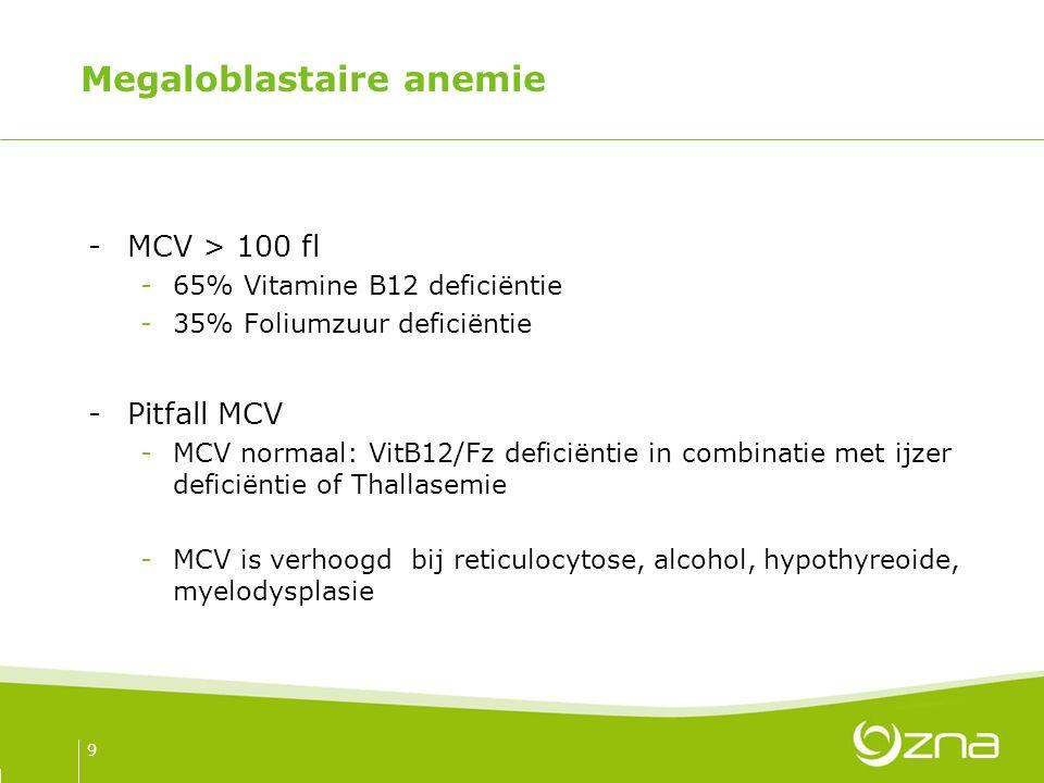 Megaloblastaire anemie -MCV > 100 fl -65% Vitamine B12 deficiëntie -35% Foliumzuur deficiëntie -Pitfall MCV -MCV normaal: VitB12/Fz deficiëntie in combinatie met ijzer deficiëntie of Thallasemie -MCV is verhoogd bij reticulocytose, alcohol, hypothyreoide, myelodysplasie 9