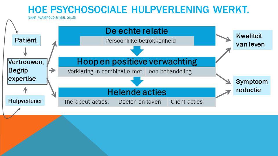 HOE PSYCHOSOCIALE HULPVERLENING WERKT.NAAR: WAMPOLD & IMEL 2015) Helende acties Therapeut acties.