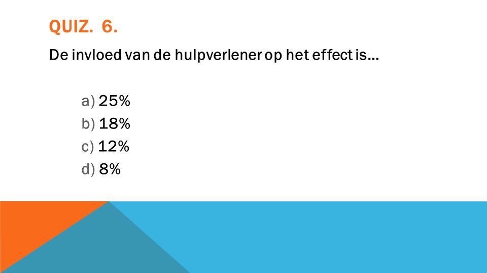 QUIZ. 6. De invloed van de hulpverlener op het effect is… a) 25% b) 18% c) 12% d) 8%