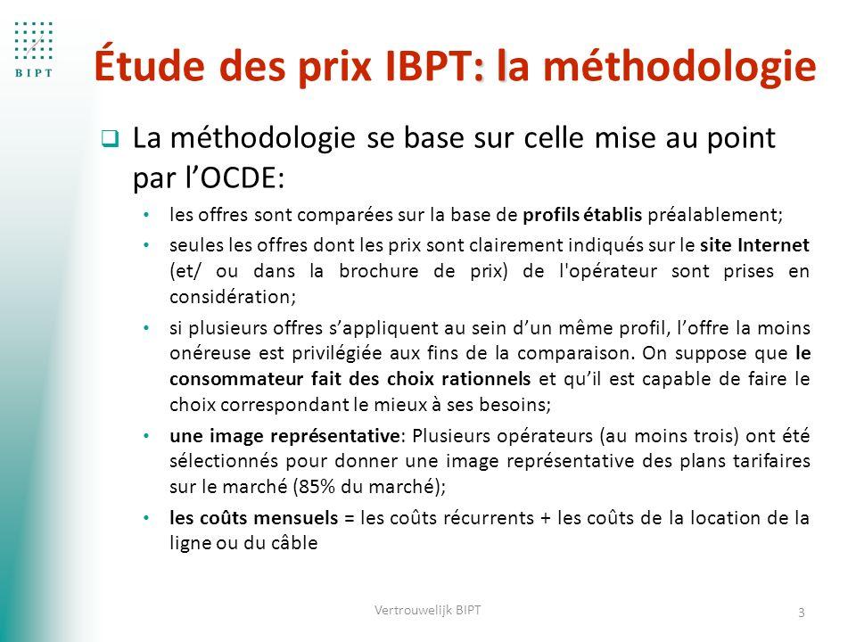 : l Étude des prix IBPT: la méthodologie  La méthodologie se base sur celle mise au point par l'OCDE: les offres sont comparées sur la base de profils établis préalablement; seules les offres dont les prix sont clairement indiqués sur le site Internet (et/ ou dans la brochure de prix) de l opérateur sont prises en considération; si plusieurs offres s'appliquent au sein d'un même profil, l'offre la moins onéreuse est privilégiée aux fins de la comparaison.