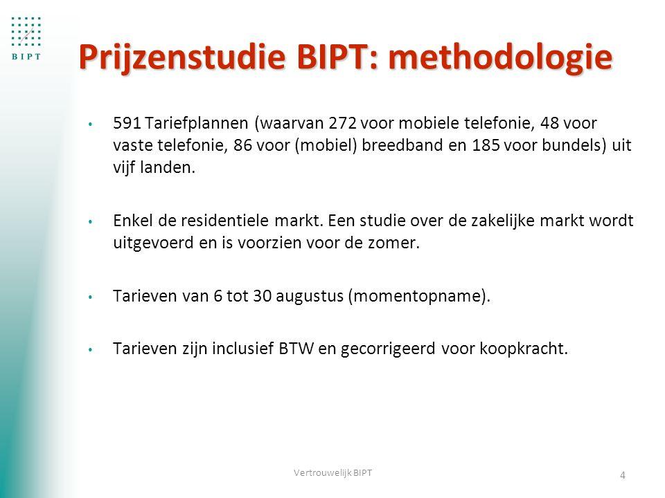 Prijzenstudie BIPT: methodologie 591 Tariefplannen (waarvan 272 voor mobiele telefonie, 48 voor vaste telefonie, 86 voor (mobiel) breedband en 185 voor bundels) uit vijf landen.