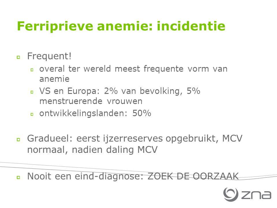 Ferriprieve anemie: incidentie Frequent.