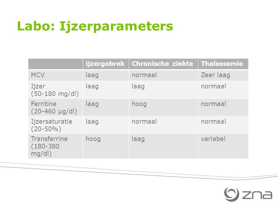ijzergebrekChronische ziekteThalassemie MCVlaagnormaalZeer laag Ijzer (50-180 mg/dl) laag normaal Ferritine (20-460 µg/dl) laaghoognormaal Ijzersaturatie (20-50%) laagnormaal Transferrine (180-380 mg/dl) hooglaagvariabel Labo: Ijzerparameters