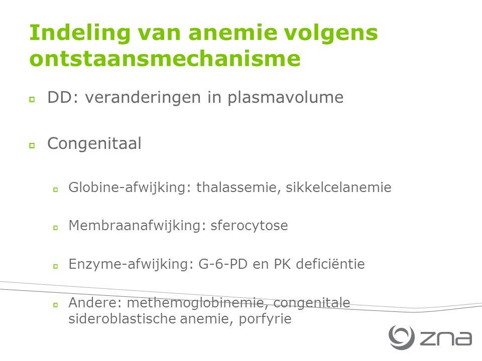 Indeling van anemie volgens ontstaansmechanisme DD: veranderingen in plasmavolume Congenitaal Globine-afwijking: thalassemie, sikkelcelanemie Membraanafwijking: sferocytose Enzyme-afwijking: G-6-PD en PK deficiëntie Andere: methemoglobinemie, congenitale sideroblastische anemie, porfyrie