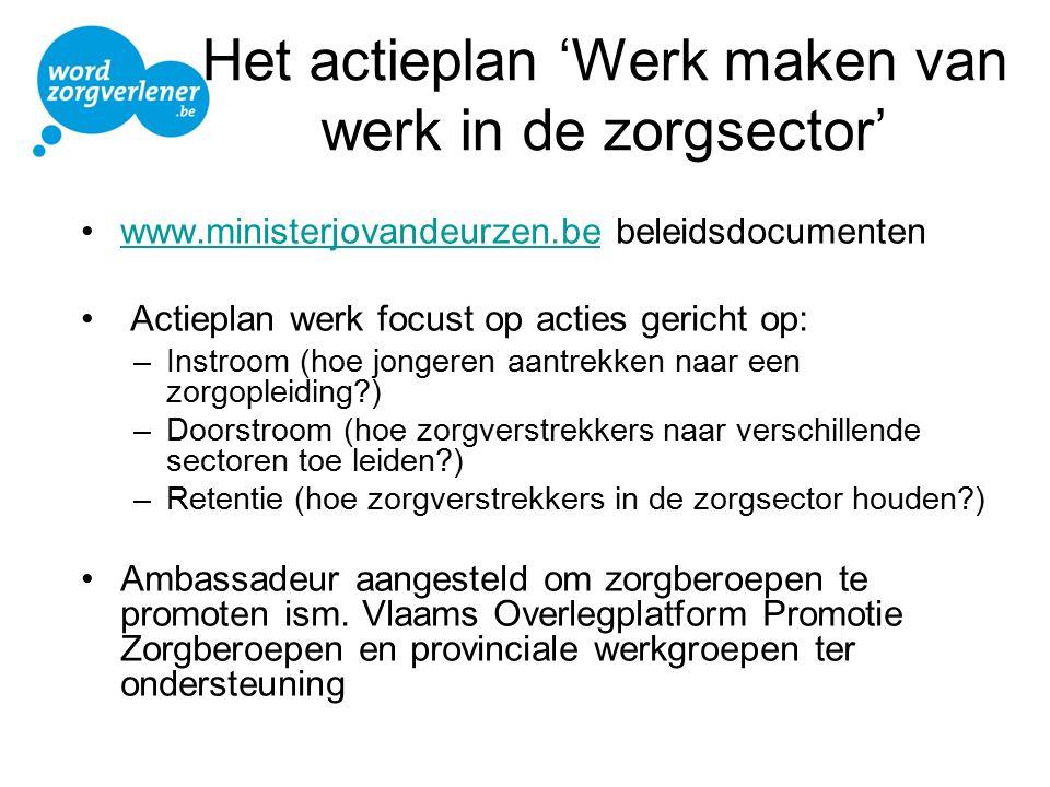 Het actieplan 'Werk maken van werk in de zorgsector' www.ministerjovandeurzen.be beleidsdocumentenwww.ministerjovandeurzen.be Actieplan werk focust op