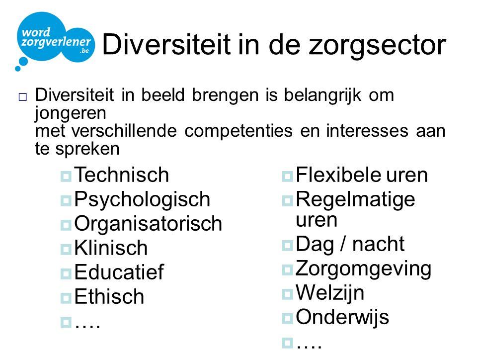 Diversiteit in de zorgsector  Diversiteit in beeld brengen is belangrijk om jongeren met verschillende competenties en interesses aan te spreken  Te
