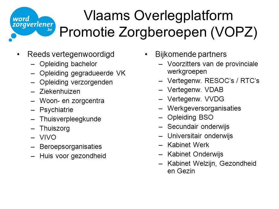 Vlaams Overlegplatform Promotie Zorgberoepen (VOPZ) Reeds vertegenwoordigd –Opleiding bachelor –Opleiding gegradueerde VK –Opleiding verzorgenden –Zie