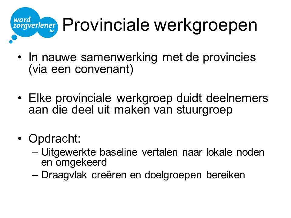 Provinciale werkgroepen In nauwe samenwerking met de provincies (via een convenant) Elke provinciale werkgroep duidt deelnemers aan die deel uit maken
