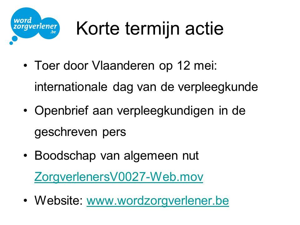 Korte termijn actie Toer door Vlaanderen op 12 mei: internationale dag van de verpleegkunde Openbrief aan verpleegkundigen in de geschreven pers Boods