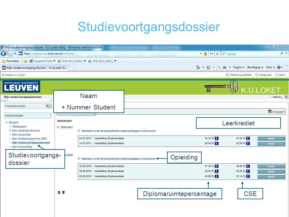 Studievoortgangsdossier Studievoortgangs- dossier Opleiding Leerkrediet Naam + Nummer Student DiplomaruimtepercentageCSE