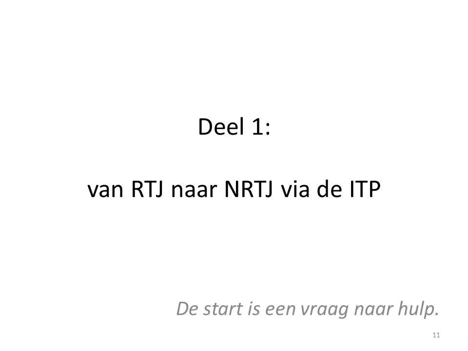 Deel 1: van RTJ naar NRTJ via de ITP De start is een vraag naar hulp. 11