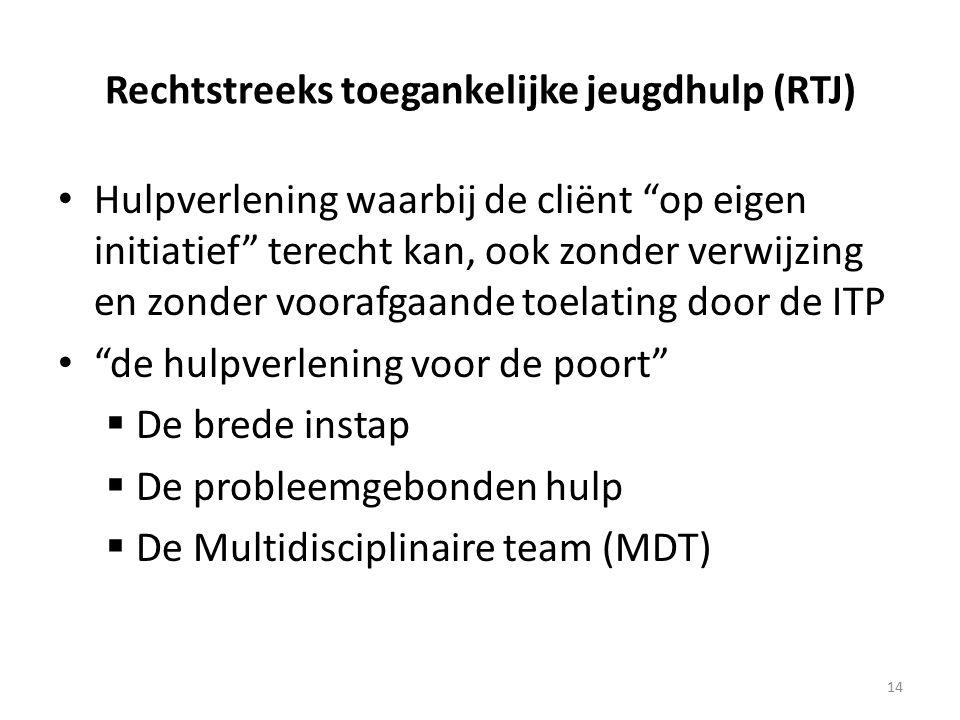 Rechtstreeks toegankelijke jeugdhulp (RTJ) Hulpverlening waarbij de cliënt op eigen initiatief terecht kan, ook zonder verwijzing en zonder voorafgaande toelating door de ITP de hulpverlening voor de poort  De brede instap  De probleemgebonden hulp  De Multidisciplinaire team (MDT) 14
