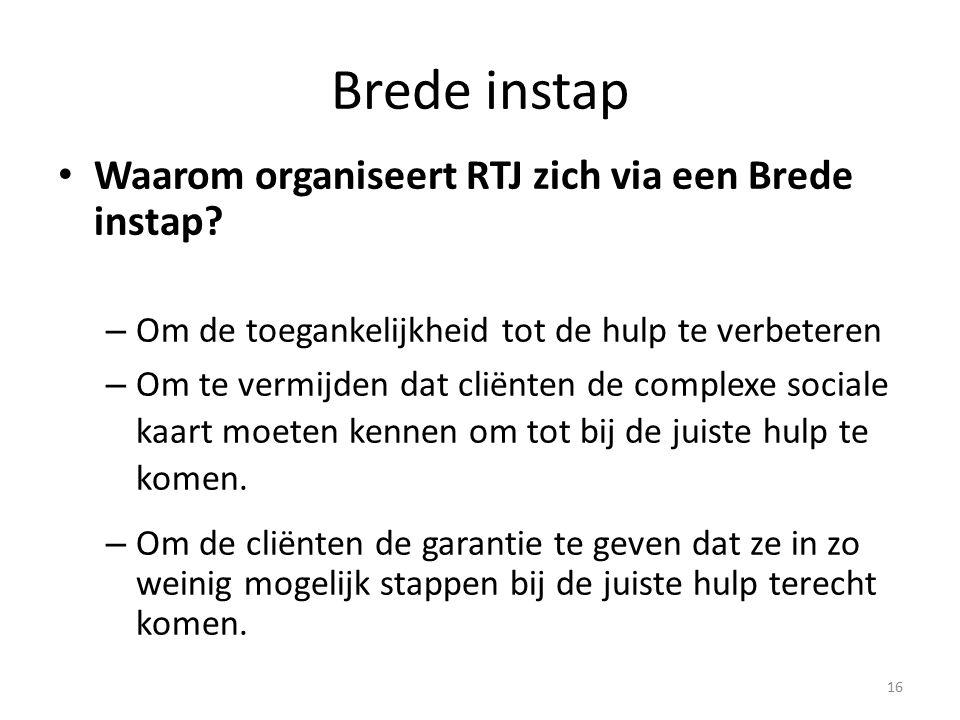 Brede instap Waarom organiseert RTJ zich via een Brede instap? – Om de toegankelijkheid tot de hulp te verbeteren – Om te vermijden dat cliënten de co