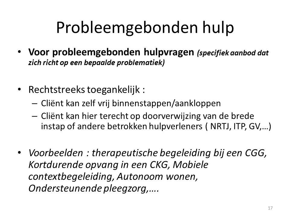 Probleemgebonden hulp Voor probleemgebonden hulpvragen (specifiek aanbod dat zich richt op een bepaalde problematiek) Rechtstreeks toegankelijk : – Cliënt kan zelf vrij binnenstappen/aankloppen – Cliënt kan hier terecht op doorverwijzing van de brede instap of andere betrokken hulpverleners ( NRTJ, ITP, GV,…) Voorbeelden : therapeutische begeleiding bij een CGG, Kortdurende opvang in een CKG, Mobiele contextbegeleiding, Autonoom wonen, Ondersteunende pleegzorg,….