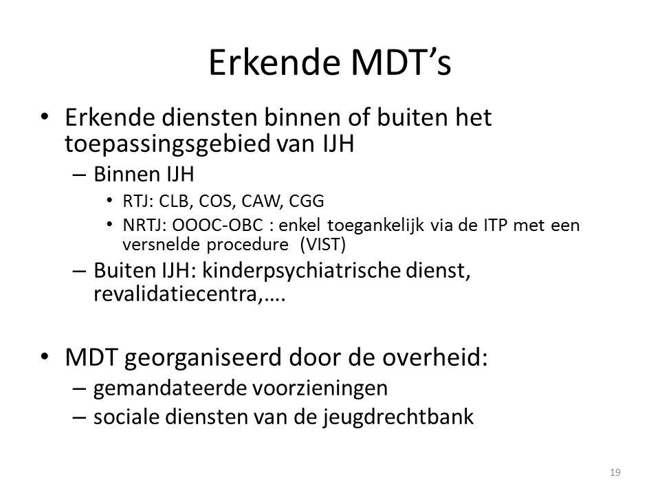 Erkende MDT's Erkende diensten binnen of buiten het toepassingsgebied van IJH – Binnen IJH RTJ: CLB, COS, CAW, CGG NRTJ: OOOC-OBC : enkel toegankelijk