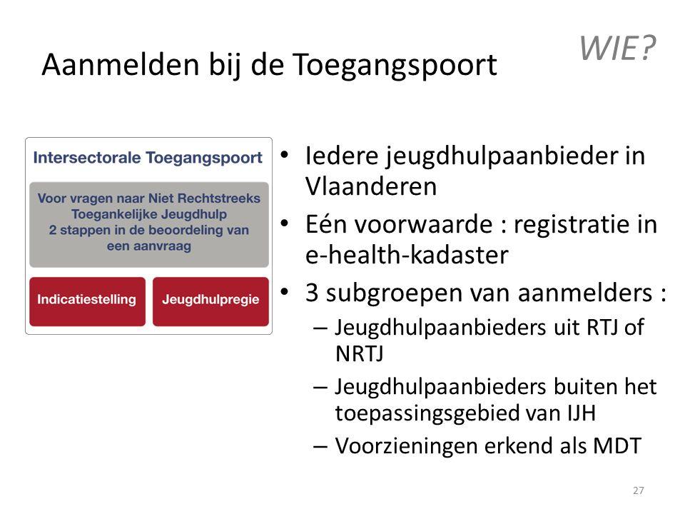 Aanmelden bij de Toegangspoort Iedere jeugdhulpaanbieder in Vlaanderen Eén voorwaarde : registratie in e-health-kadaster 3 subgroepen van aanmelders : – Jeugdhulpaanbieders uit RTJ of NRTJ – Jeugdhulpaanbieders buiten het toepassingsgebied van IJH – Voorzieningen erkend als MDT WIE.
