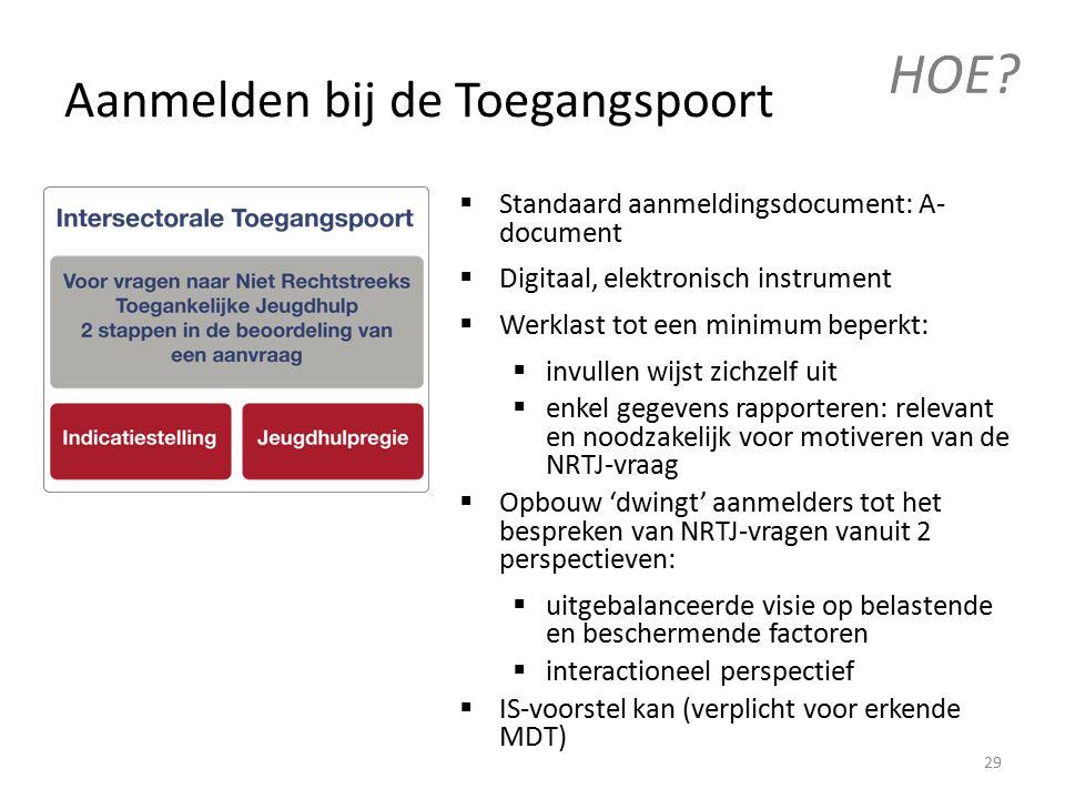  Standaard aanmeldingsdocument: A- document  Digitaal, elektronisch instrument  Werklast tot een minimum beperkt:  invullen wijst zichzelf uit  enkel gegevens rapporteren: relevant en noodzakelijk voor motiveren van de NRTJ-vraag  Opbouw 'dwingt' aanmelders tot het bespreken van NRTJ-vragen vanuit 2 perspectieven:  uitgebalanceerde visie op belastende en beschermende factoren  interactioneel perspectief  IS-voorstel kan (verplicht voor erkende MDT) Aanmelden bij de Toegangspoort HOE.