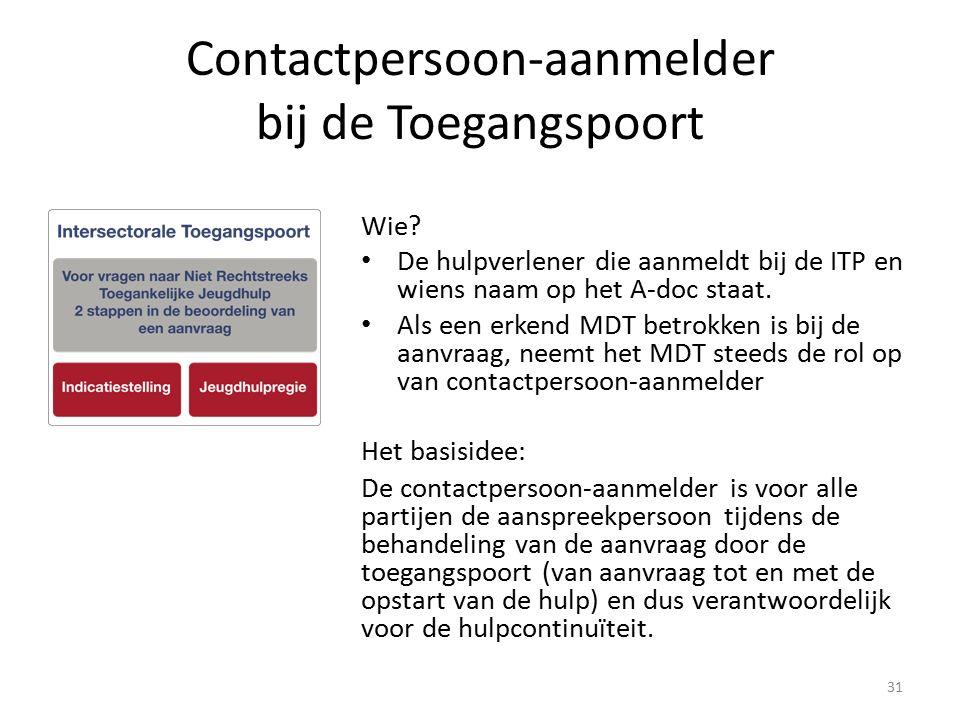 Contactpersoon-aanmelder bij de Toegangspoort Wie? De hulpverlener die aanmeldt bij de ITP en wiens naam op het A-doc staat. Als een erkend MDT betrok