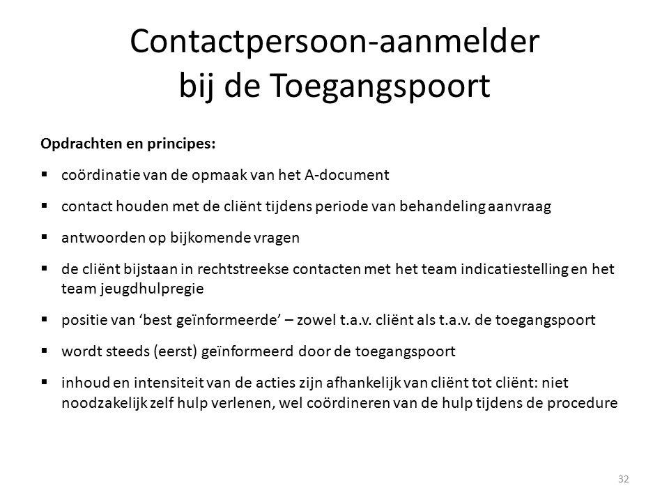 Contactpersoon-aanmelder bij de Toegangspoort Opdrachten en principes:  coördinatie van de opmaak van het A-document  contact houden met de cliënt t