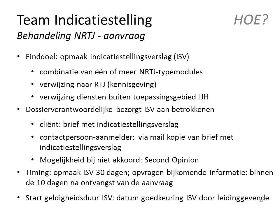 Team Indicatiestelling Behandeling NRTJ - aanvraag HOE? Einddoel: opmaak indicatiestellingsverslag (ISV) combinatie van één of meer NRTJ-typemodules v