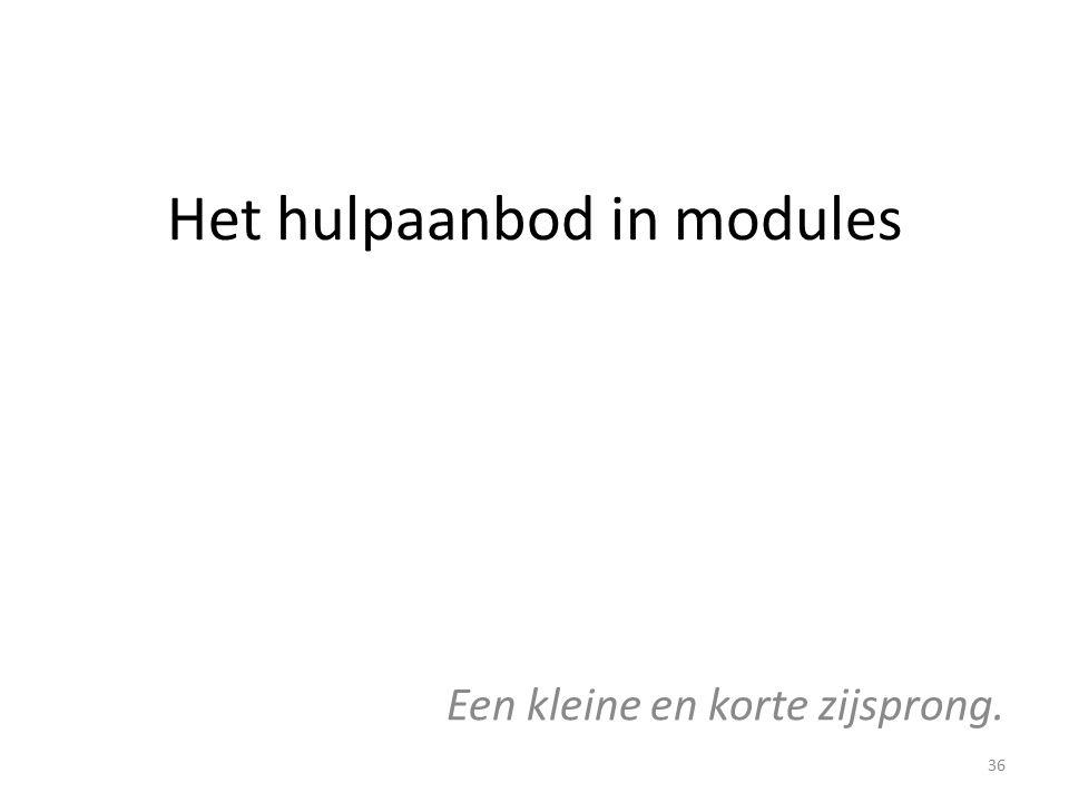 Het hulpaanbod in modules Een kleine en korte zijsprong. 36