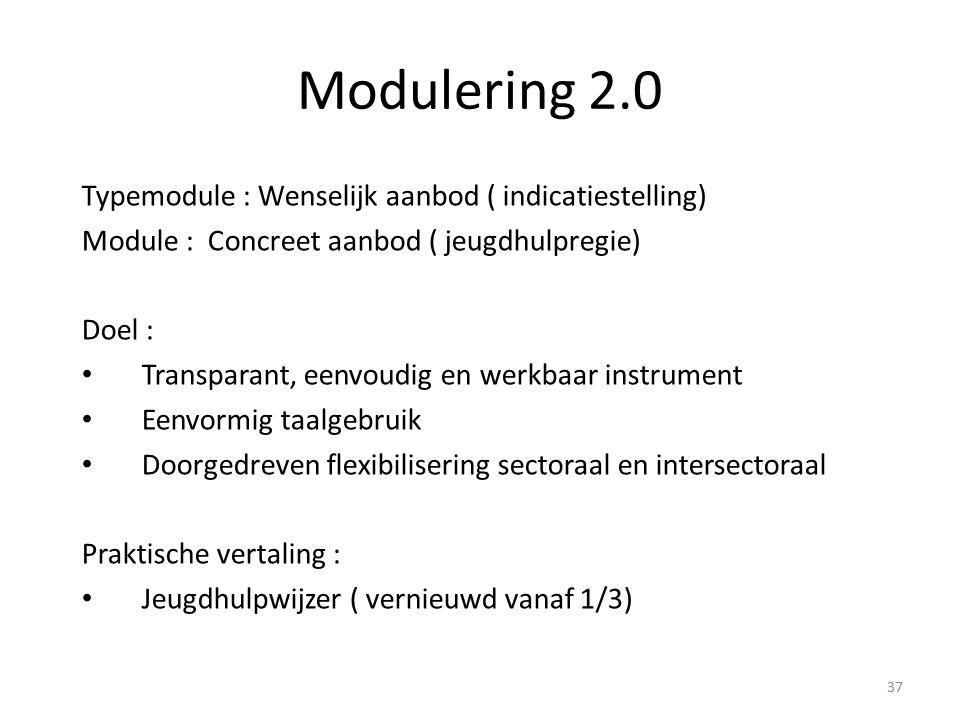 Modulering 2.0 Typemodule : Wenselijk aanbod ( indicatiestelling) Module : Concreet aanbod ( jeugdhulpregie) Doel : Transparant, eenvoudig en werkbaar instrument Eenvormig taalgebruik Doorgedreven flexibilisering sectoraal en intersectoraal Praktische vertaling : Jeugdhulpwijzer ( vernieuwd vanaf 1/3) 37