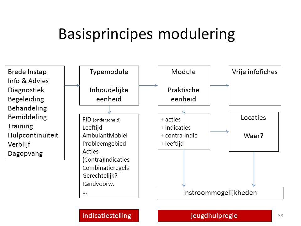 Basisprincipes modulering Brede Instap Info & Advies Diagnostiek Begeleiding Behandeling Bemiddeling Training Hulpcontinuïteit Verblijf Dagopvang Typemodule Inhoudelijke eenheid Module Praktische eenheid Locaties Waar.
