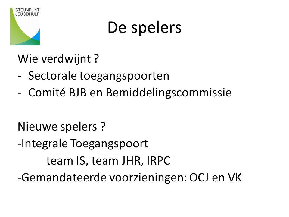 De spelers Wie verdwijnt ? -Sectorale toegangspoorten -Comité BJB en Bemiddelingscommissie Nieuwe spelers ? -Integrale Toegangspoort team IS, team JHR