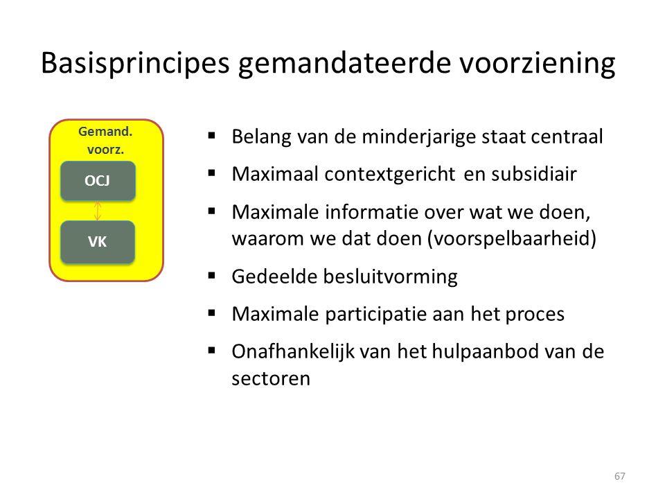 Basisprincipes gemandateerde voorziening Gemand. voorz. VK OCJ  Belang van de minderjarige staat centraal  Maximaal contextgericht en subsidiair  M