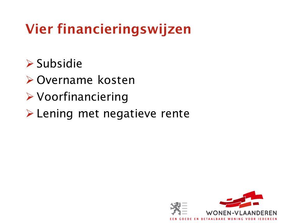 Vier financieringswijzen  Subsidie  Overname kosten  Voorfinanciering  Lening met negatieve rente