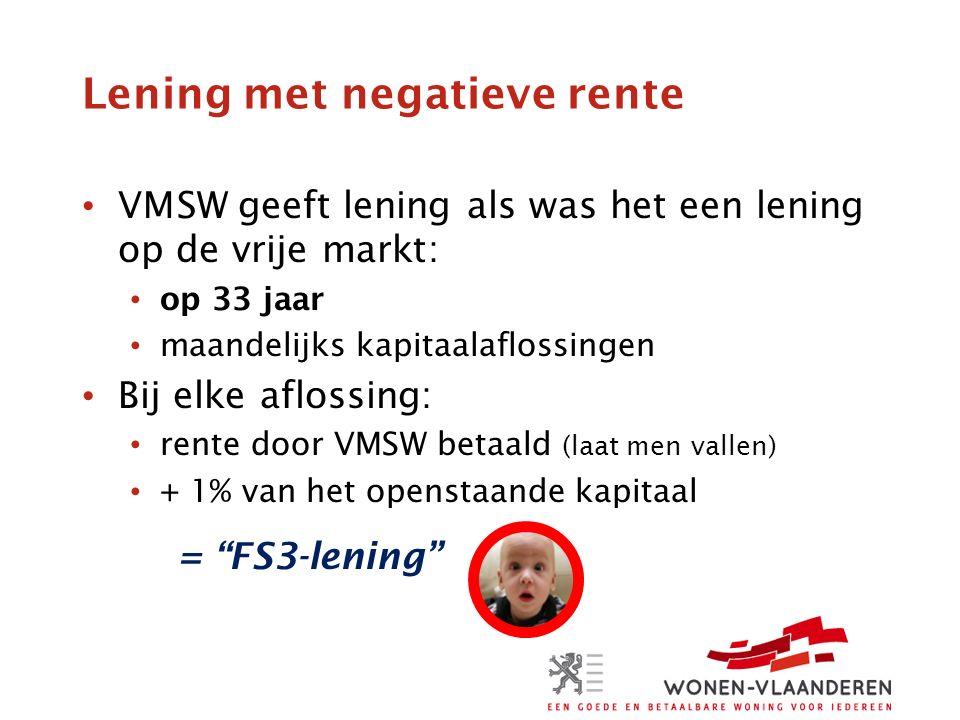 Lening met negatieve rente VMSW geeft lening als was het een lening op de vrije markt: op 33 jaar maandelijks kapitaalaflossingen Bij elke aflossing: rente door VMSW betaald (laat men vallen) + 1% van het openstaande kapitaal = FS3-lening