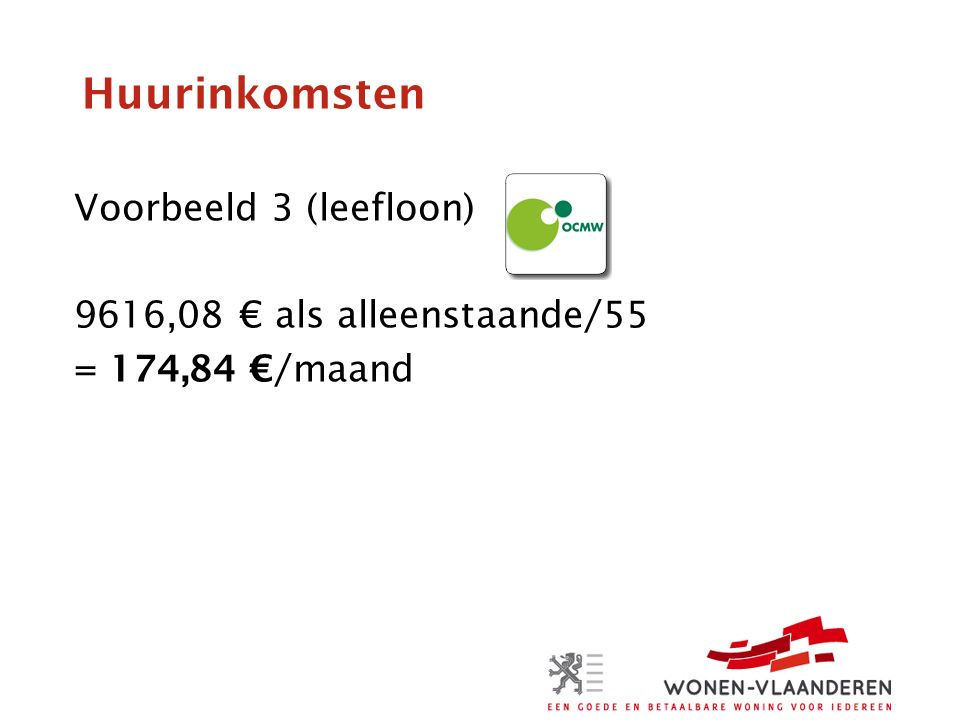Huurinkomsten Voorbeeld 3 (leefloon) 9616,08 € als alleenstaande/55 = 174,84 €/maand