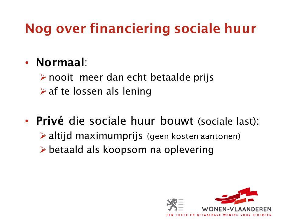 Nog over financiering sociale huur Normaal:  nooit meer dan echt betaalde prijs  af te lossen als lening Privé die sociale huur bouwt (sociale last) :  altijd maximumprijs (geen kosten aantonen)  betaald als koopsom na oplevering