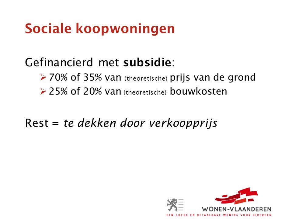 Sociale koopwoningen Gefinancierd met subsidie:  70% of 35% van (theoretische) prijs van de grond  25% of 20% van (theoretische) bouwkosten Rest = te dekken door verkoopprijs