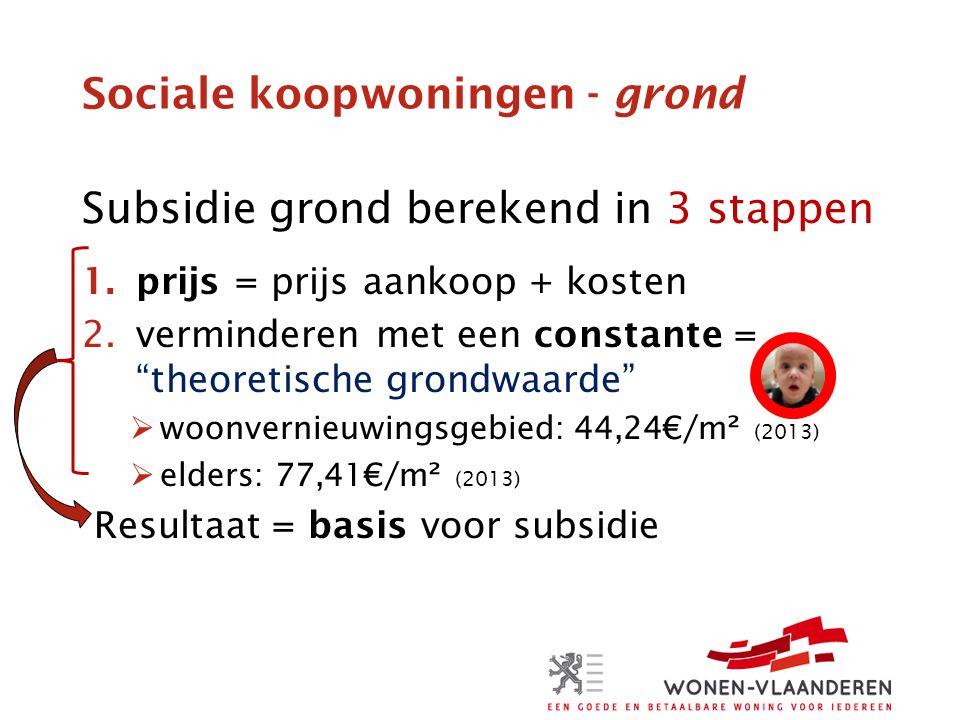 Sociale koopwoningen - grond Subsidie grond berekend in 3 stappen 1.prijs = prijs aankoop + kosten 2.verminderen met een constante = theoretische grondwaarde  woonvernieuwingsgebied: 44,24€/m² (2013)  elders: 77,41€/m² (2013) Resultaat = basis voor subsidie