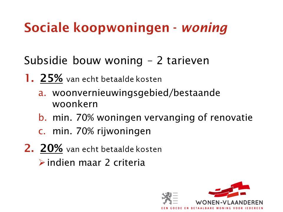 Sociale koopwoningen - woning Subsidie bouw woning – 2 tarieven 1.25% van echt betaalde kosten a.woonvernieuwingsgebied/bestaande woonkern b.min.