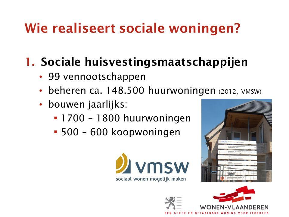 Wie realiseert sociale woningen.2.Lokale besturen (OCMW's, gemeenten, intercommunales) beheren ca.